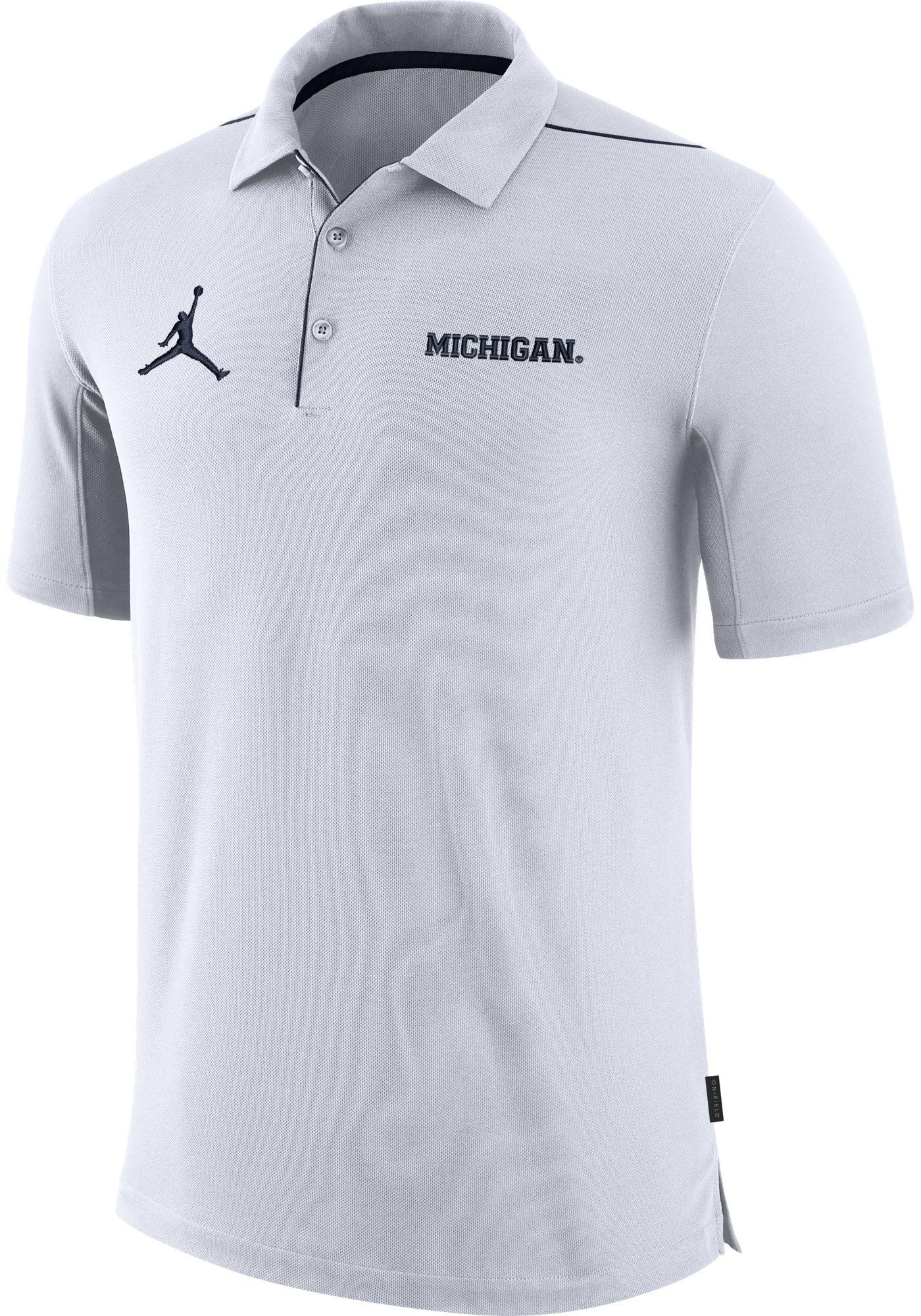 Jordan Men's Michigan Wolverines Team Issue Football Sideline White Polo