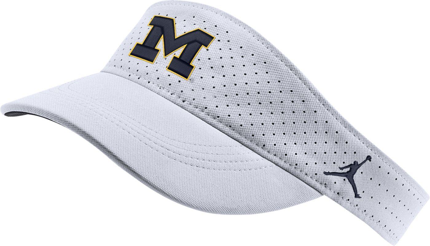 Jordan Men's Michigan Wolverines AeroBill Football Sideline White Visor