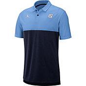 Jordan Men's North Carolina Tar Heels Carolina Blue/Navy Dri-FIT Breathe Football Sideline Polo