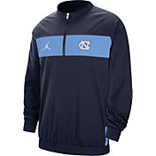 Jordan Men's North Carolina Tar Heels Navy Lockdown Half-Zip Football Jacket