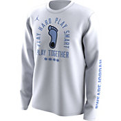 Jordan Men's North Carolina Tar Heels 'Play Hard Play Smart Play Together' Bench Legend White Long Sleeve T-Shirt