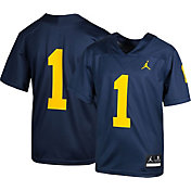 Jordan Youth Michigan Wolverines #1 Blue Game Football Jersey