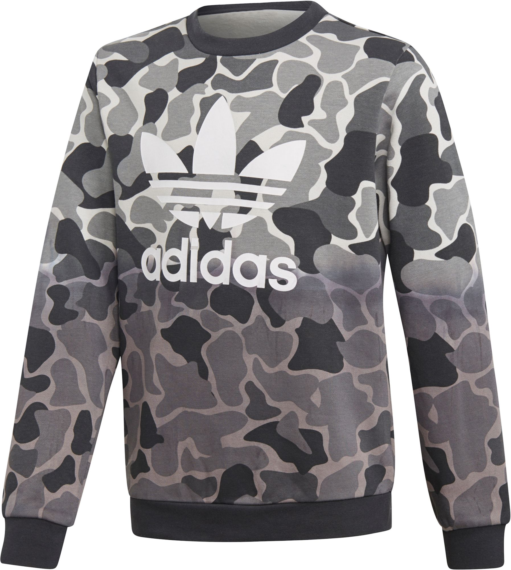 adidas Originals Boys' Camo Trefoil Crew Sweatshirt, Size: XS, Green/Black thumbnail