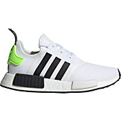 adidas Kids' Grade School NMD_R1 Shoes in White/Black/Yellow