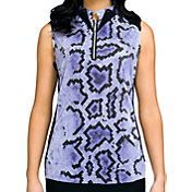 Jamie Sadock Women's Sleeveless Snake Print ¼ Zip Golf Top