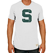 Original Retro Brand Men's Michigan State Spartans White Tri-Blend T-Shirt