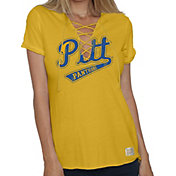 Original Retro Brand Women's Pitt Panthers Gold Esmeralda Lace Up V-Neck T-Shirt