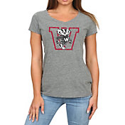 Original Retro Brand Women's Wisconsin Badgers Grey Megan Tri-Blend V-Neck T-Shirt
