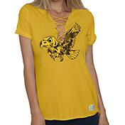 Original Retro Brand Women's Iowa Hawkeyes Gold Esmeralda Lace Up V-Neck T-Shirt