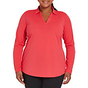Lady Hagen Women's Solid Long Sleeve Golf Polo - Extended Sizes