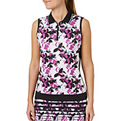 Lady Hagen Women's Twilight Collection Floral Printed Sleeveless Golf Polo