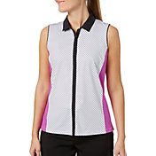Lady Hagen Women's Twilight Collection Stripe Printed Sleeveless Golf Polo