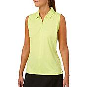 Lady Hagen Women's Watercolor Collection Zipper Sleeveless Golf Polo - Plus Size