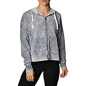 Betsey Johnson Women's Bleach Wash Full-Zip Hoodie
