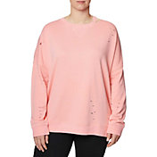 Betsey Johnson Women's Plus Size Slit and Distressed Pullover
