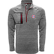 Levelwear Men's FC Barcelona Vault Logo Heather Grey Quarter-Zip Pullover