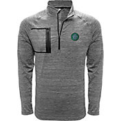 Levelwear Men's Celtic FC Vault Logo Heather Grey Quarter-Zip Pullover