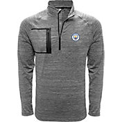 Levelwear Men's Manchester City Vault Logo Heather Grey Quarter-Zip Pullover