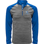 Levelwear Men's Salt Lake Stallions Heather Grey/Blue Quarter-Zip Pullover