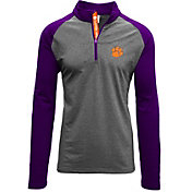 Levelwear Men's Clemson Tigers Grey/Purple Mayhem Quarter-Zip Shirt