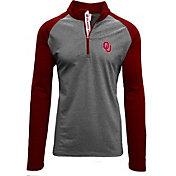 Levelwear Men's Oklahoma Sooners Grey/Crimson Mayhem Quarter-Zip Shirt