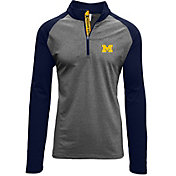 Levelwear Men's Michigan Wolverines Grey/Blue Mayhem Quarter-Zip Shirt