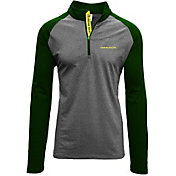 Levelwear Men's Oregon Ducks Grey/Green Mayhem Quarter-Zip Shirt