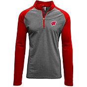 Levelwear Men's Wisconsin Badgers Grey/Red Mayhem Quarter-Zip Shirt