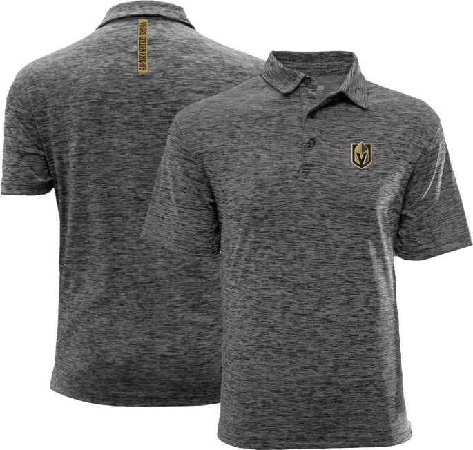 brand new d155d 39c16 Levelwear Men's Vegas Golden Knights Text Drop Heather Grey Polo
