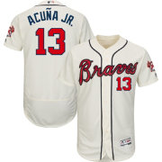 Majestic Men's Authentic Atlanta Braves Ronald Acuña #13 Flex Base Alternate Ivory On-Field Jersey