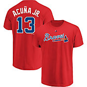 Majestic Men's Atlanta Braves Ronald Acuna #13 Red T-Shirt