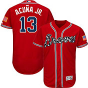 Majestic Men's Authentic Atlanta Braves Ronald Acuña #13 Flex Base Alternate Red On-Field Jersey