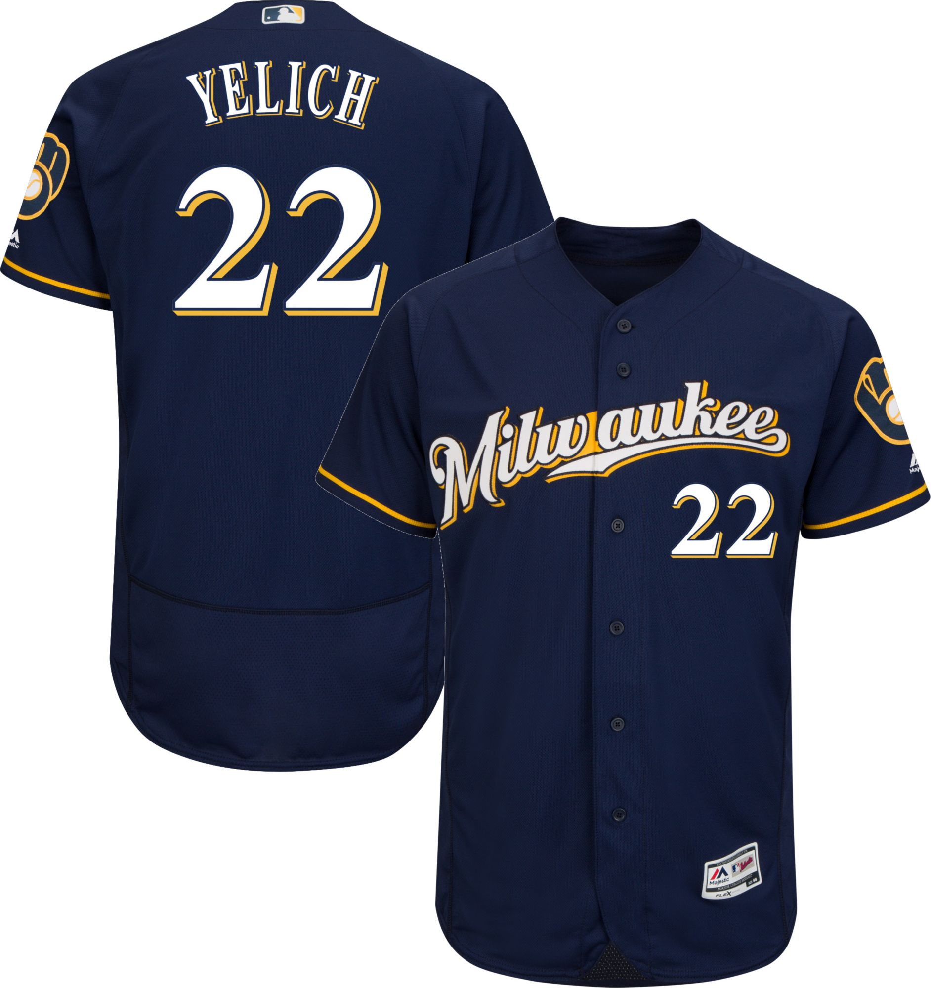 e0a7b4b175f ireland milwaukee brewers italian jersey 5eb4c f6209  greece majestic mens  authentic milwaukee brewers christian yelich 22 flex base alternate road  navy on ...