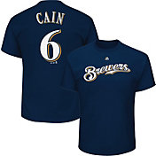 Majestic Men's Milwaukee Brewers Lorenzo Cain #6 Navy T-Shirt