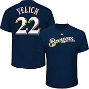 Majestic Men's Milwaukee Brewers Christian Yelich #22 Navy T-Shirt