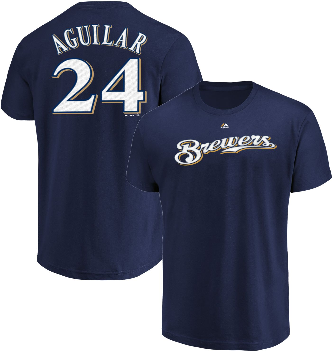 Majestic Men's Milwaukee Brewers Jesus Aguilar #24 Navy T-Shirt