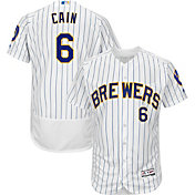 Majestic Men's Authentic Milwaukee Brewers Lorenzo Cain #6 Flex Base Alternate White On-Field Jersey