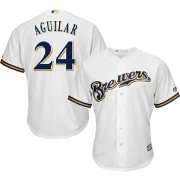 Majestic Men's Replica Milwaukee Brewers Jesus Aguilar #24 Cool Base Home White Jersey