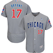 Majestic Men's Authentic Chicago Cubs Kris Bryant #17 Flex Base Road Grey On-Field Jersey w/ 2018 Father's Day Ribbon