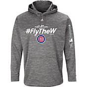 Majestic Men's Chicago Cubs 2018 MLB Postseason Grey On-Field Therma Base Hoodie