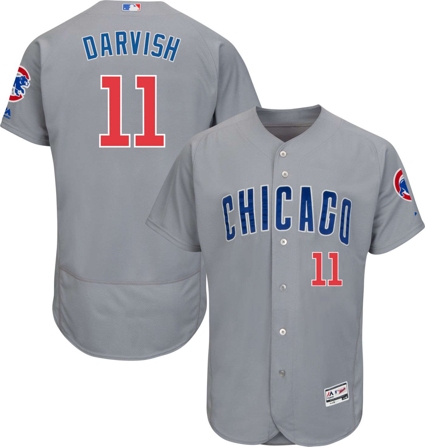 Majestic Men's Authentic Chicago Cubs Yu Darvish #11 Flex Base Road Grey On-Field Jersey