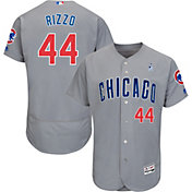 Majestic Men's Authentic Chicago Cubs Anthony Rizzo #44 Flex Base Road Grey On-Field Jersey w/ 2018 Father's Day Ribbon