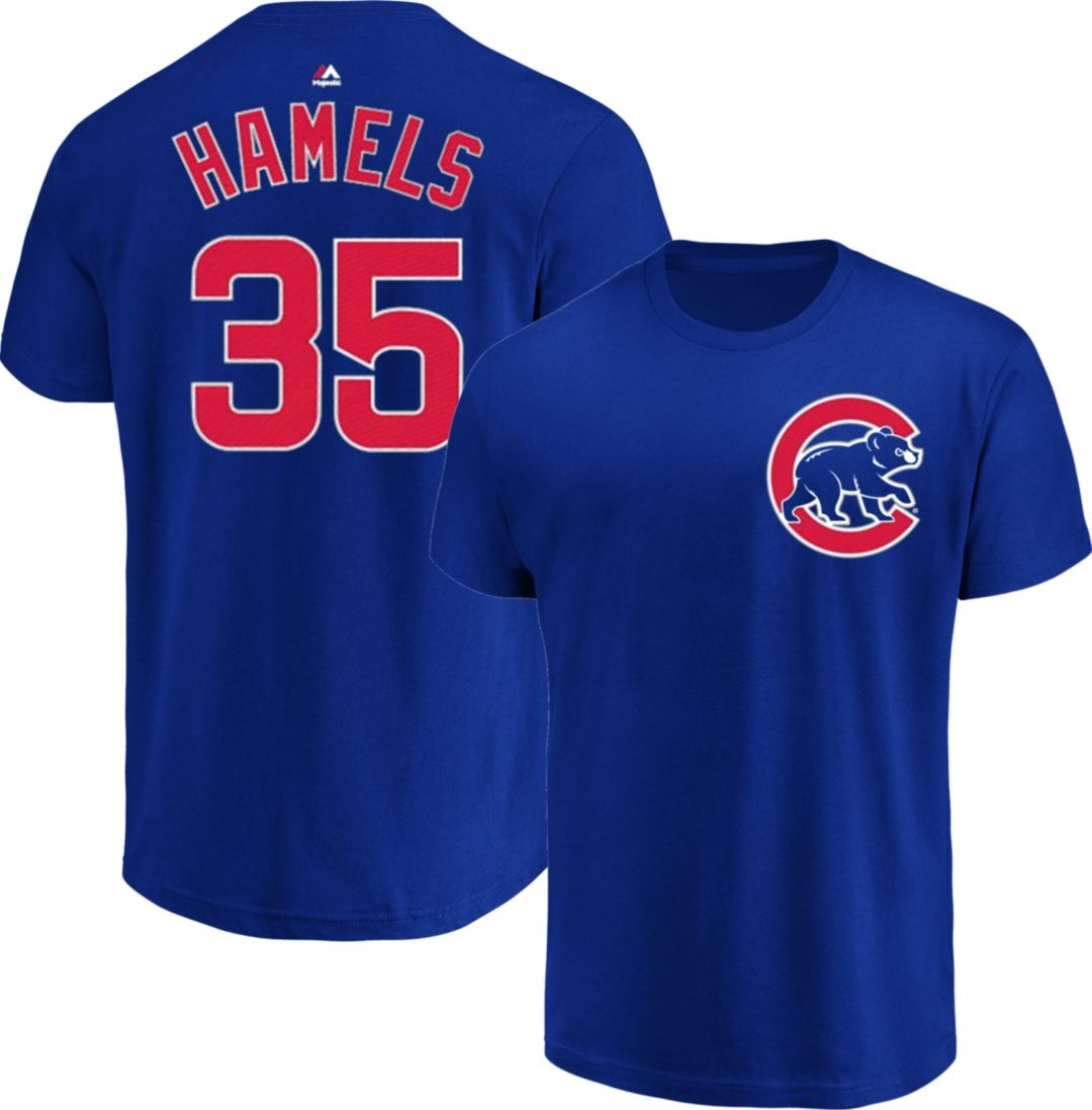 newest 54bd3 6f29b Majestic Men's Chicago Cubs Cole Hamels #35 Royal T-Shirt