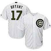 Majestic Men's Replica Chicago Cubs Kris Bryant #17 Cool Base Home White 2018 Memorial Day Jersey