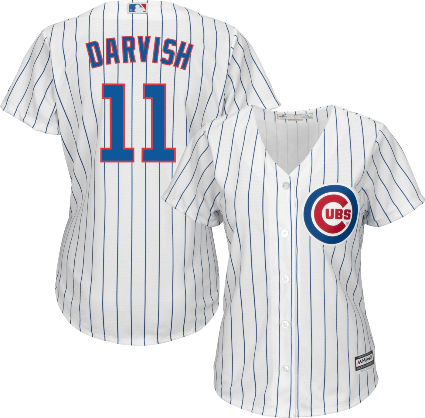 Majestic Women's Replica Chicago Cubs Yu Darvish #11 Cool Base Home White Jersey