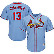 Majestic Men's Replica St. Louis Cardinals Matt Carpenter #13 Cool Base Alternate Light Blue Jersey