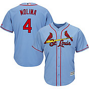 Majestic Men's Replica St. Louis Cardinals Yadier Molina #4 Cool Base Alternate Light Blue Jersey