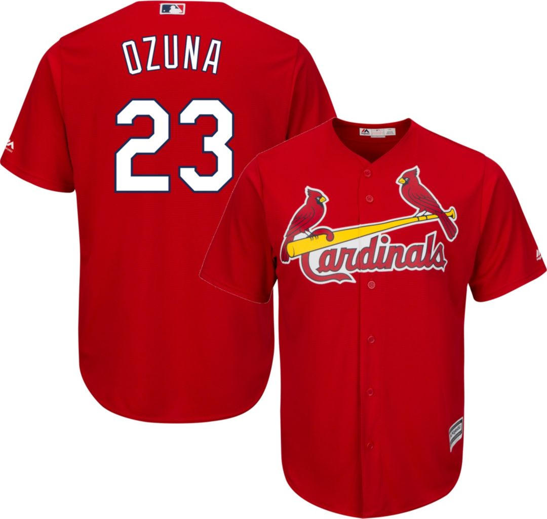 promo code 63942 cf652 Majestic Men's Replica St. Louis Cardinals Marcell Ozuna #23 Cool Base  Alternate Red Jersey