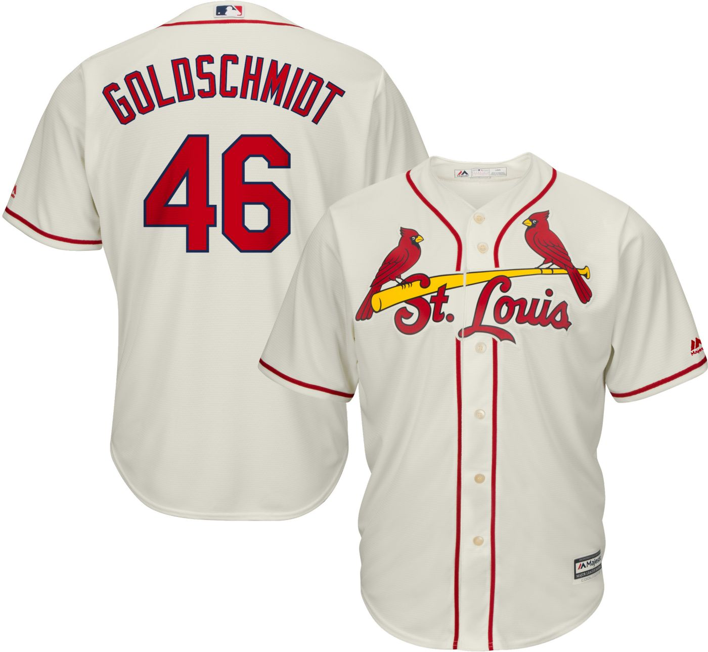 Majestic Men's Replica St. Louis Cardinals Paul Goldschmidt #46 Cool Base Alternate Ivory Jersey
