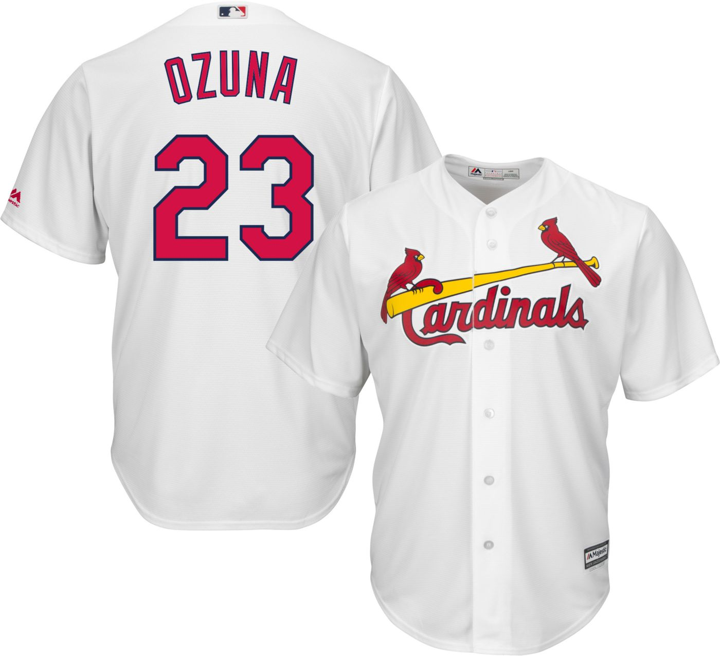Majestic Men's Replica St. Louis Cardinals Marcell Ozuna #23 Cool Base Home White Jersey